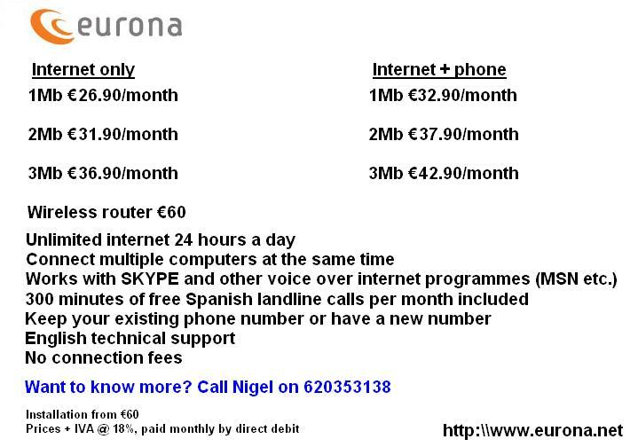 Eurona Rural telephone and internet